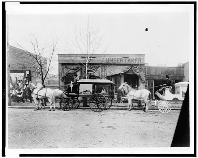 [Horses and carriages in front of funeral home of C.W. Franklin, undertaker, Chattanooga, Tennessee]