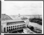 [World's Columbian Exposition, Chicago.  Southwest(?) view over Manufacturer's(?) Building in left foreground, Administration Building in center background, and Transportation Building in right background]