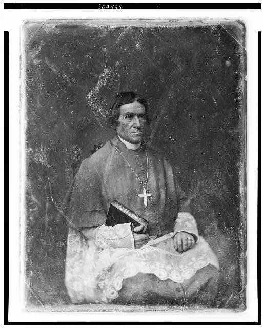 [Bishop Frederic Baraga, three-quarter length portrait, facing three-quarters to right, seated, in clerical robes, holding his Dictionary of the Otchipwe Language]