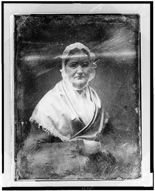 [Mary Woodburn Greeley, half-length portrait of a woman, slightly to the right, facing front, wearing spectacles]