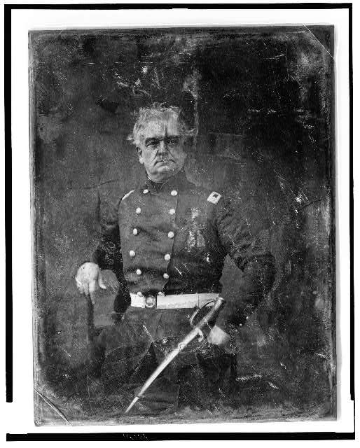 [Colonel Thomas Stanford in uniform with sword]