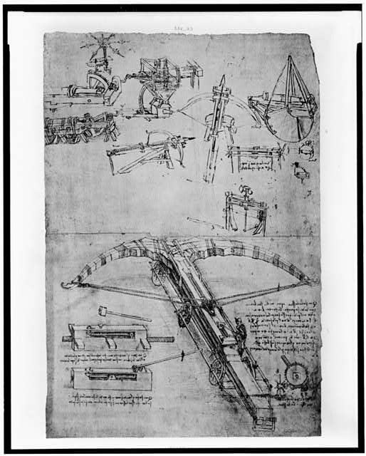 [Reproduction of page from notebook of Leonardo da Vinci showing giant crossbow]
