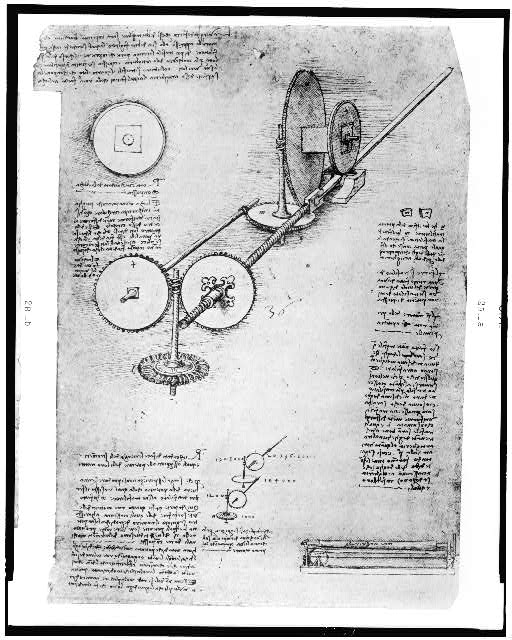 [Reproduction of page from notebook of Leonardo da Vinci showing a water-powered, gear-driven machine for manufacturing cannon barrels]