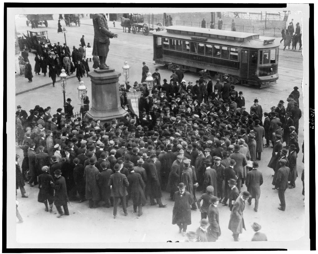 [Suffrage demonstration at Park Row, New York City]