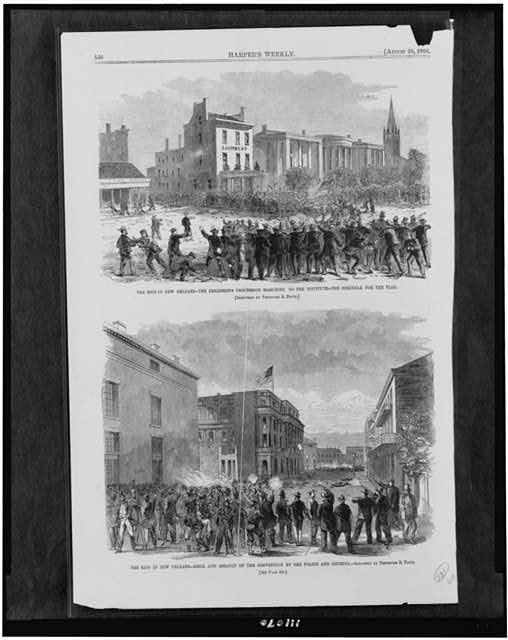 The Riot in New Orleans - the Freedmen's procession marching to the institute - the struggle for the flag The riot in New Orleans - siege and assault of the convention by the police and citizens /