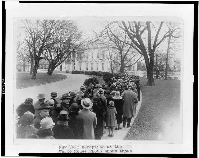 New Year reception at the White House. Photo shows thousands of citizens waiting to be received