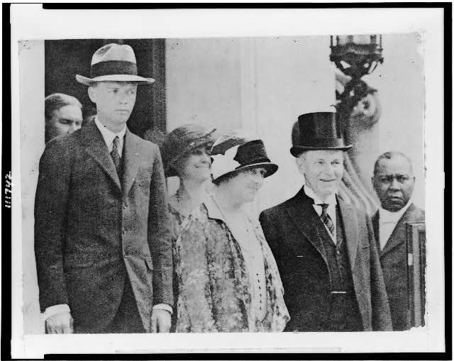 Col. Chas. Lindbergh and his mother photographed with the President and Mrs. Coolidge