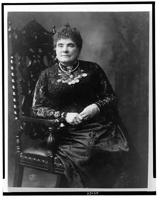 [Louise Chandler Moulton, three-quarter length portrait, seated, facing slightly left]