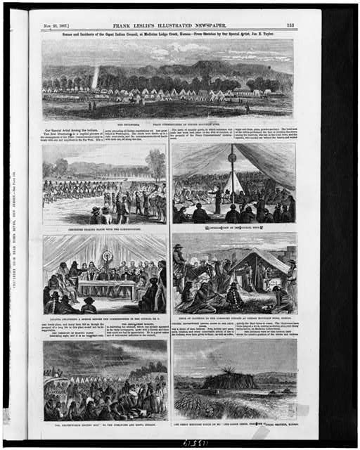 Scenes and incidents of the Great Indian Council, at Medicine Lodge Creek, Kansas