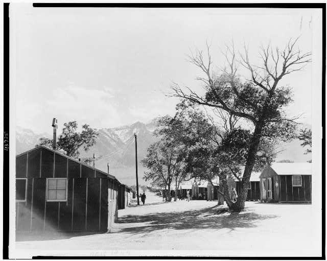 [Living quarters at the Manzanar relocation camp, in Manzanar, California]