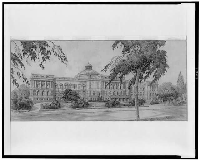 Architectural drawing for alterations to the Library of Congress, Washington, D.C. Perspective rendering