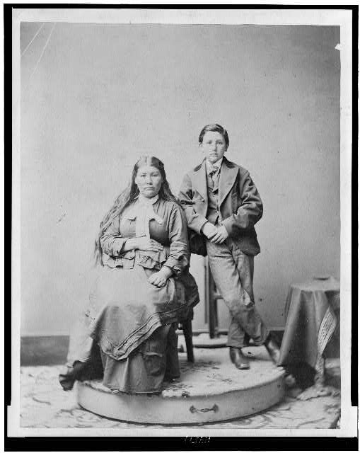 Winema or Tobey Riddle and son--Celebrated Modoc Indian who saved Col. Meacham's life in 1873