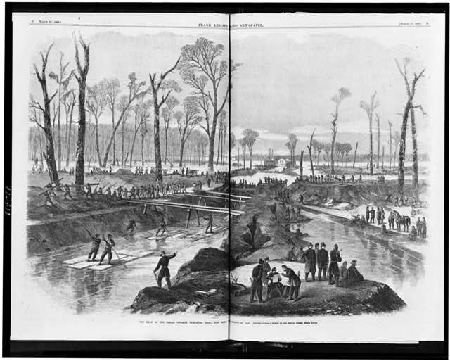 The head of the canal, opposite Vicksburg, Miss., now being cut by command of Gen. Grant