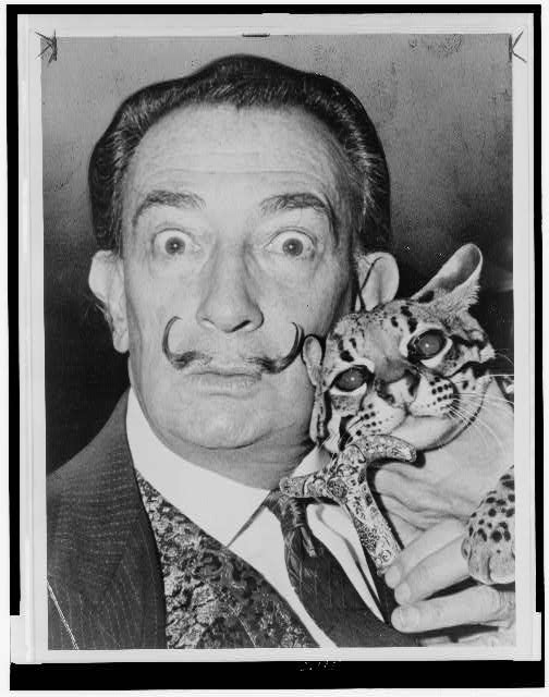 Salvatore Dali with ocelot friend at St Regis
