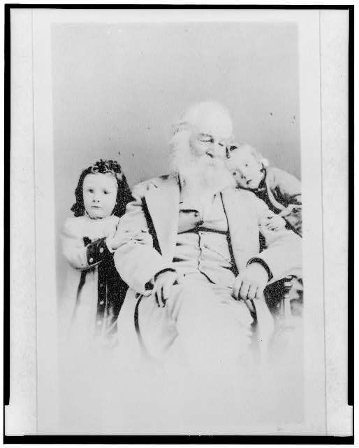 "[Walt Whitman, three-quarter length portrait, seated, facing slightly right, with ""Kitty"" (Katherine D.) Johnston and ""Harry"" (Harold Hugh) Johnston, children of John H. and Amelia Johnston]"