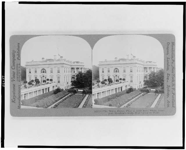 The White House, flag at half mast while President Harding's body was lying in state