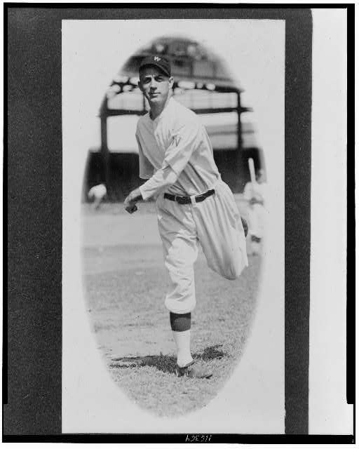 [George Mogridge, Washington Nationals baseball player, full-length portrait, throwing baseball]