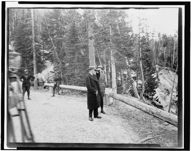 Pres. Coolidge and Mr. Albright at Artists Point, Yellowstone National Park