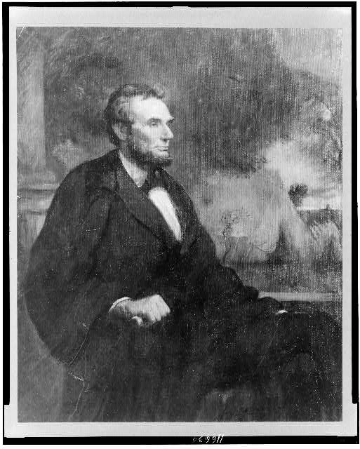 [President Lincoln, half-length portrait, seated facing right]