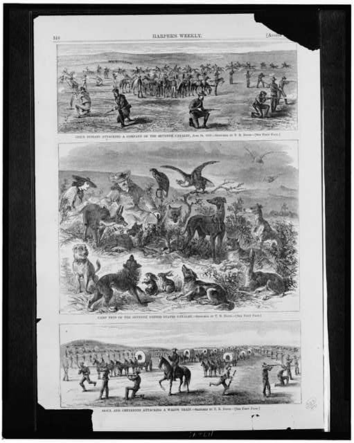 Sioux Indians attacking a company of the Seventh Cavalry, June 24, 1867 Camp pets of the Seventh United States Cavalry ; Sioux and Cheyennes attacking a wagon train /
