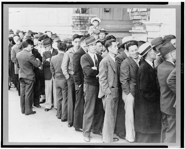 San Francisco, Calif., Apr. 1942--Residents, of Japanese ancestry, appearing at the Civil control station for registration in response to the Army's exclusion order No. 20--The evacuees will be housed in War relocation authority centers for the duration