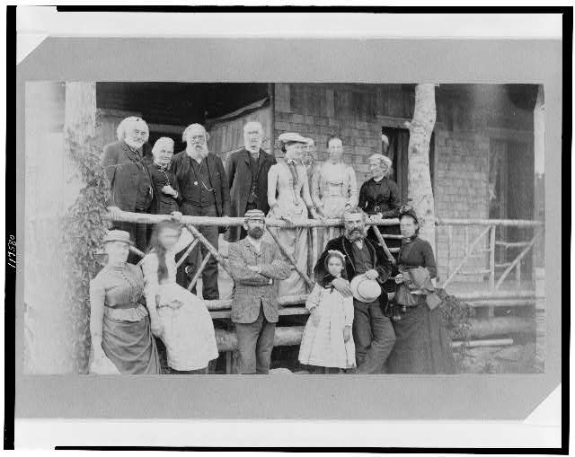Alexander Graham Bell with his family and friends at the lodge, Baddeck, Nova Scotia