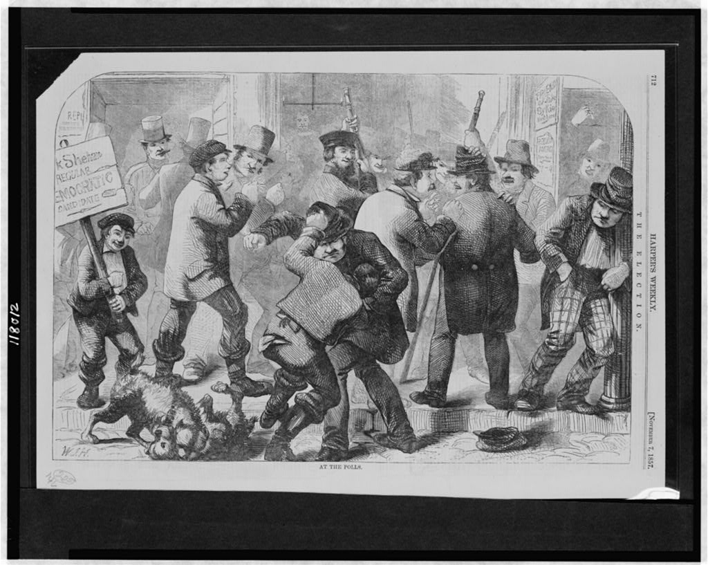 Fighting at the polls. Illustration from Harper's Weekly, November 7, 1857. Library of Congress collections