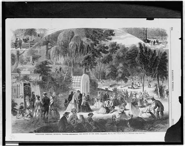 Hollywood Cemetery, Richmond, Virginia - decorating the graves of the rebel soldiers, May 31, 1867