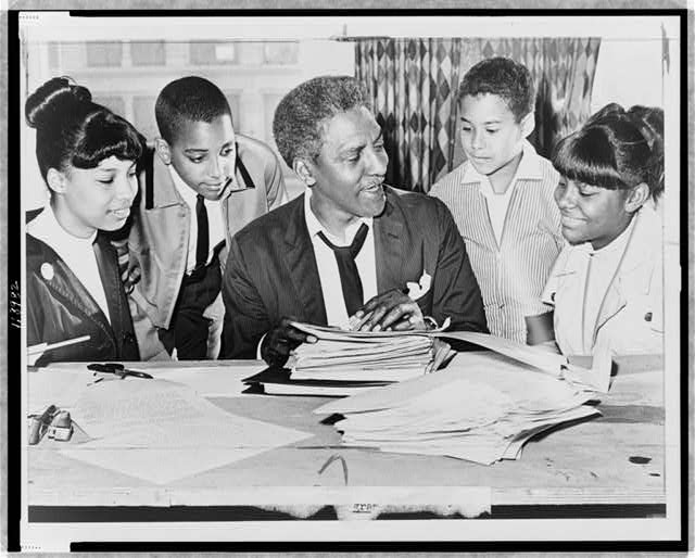 Photograph by Ed Ford of Bayard Rustin with young activists, 1964, New York World-Telegram and the Sun Newspaper Photograph Collection, LOC
