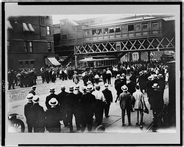 Strikes - street railways--New York--Stopped car on 86th St. and 6th Ave. 1916