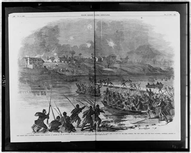 """The forlorn hope"" - volunteer storming party, consisting of portions of the 7th Michigan and 19th Massachusetts, crossing the Rappahannock in advance of the Grand Army, to drive off the Rebel riflemen, who were firing upon the Union pontoniers, Wednesday, December 10"