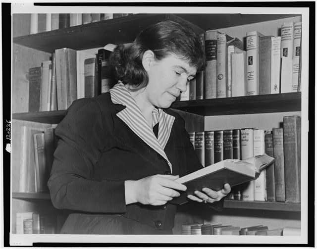 [Dr. Margaret Mead, half-length portrait, facing right, reading book]