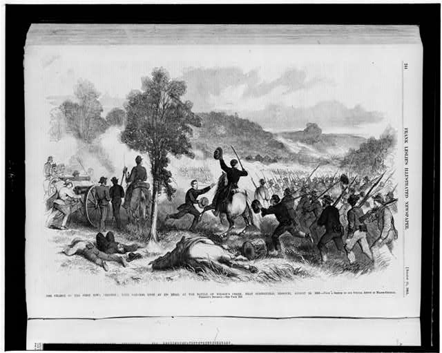 The charge of the First Iowa Regiment, with General Lyon at its head, at the Battle of Wilson's Creek, near Springfield, Missouri, August 10, 1861
