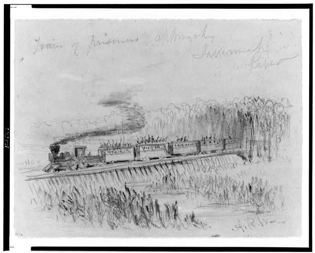 Train of prisoners approaches Savannah River