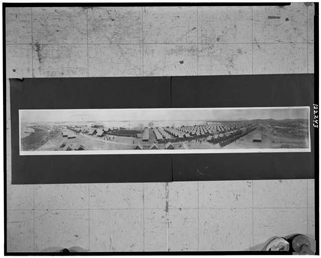 Panorama showing 1st, 2nd & 3rd Regiments, U.S. Marines, Deer Point Camp, Guantanamo Bay, Cuba, April 26, 1911