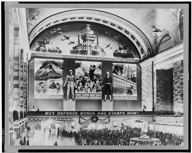 New York, New York. Photo mural to promote the sales of defense bonds, designed by Farm Security Administration, in concourse of Grand Central terminal