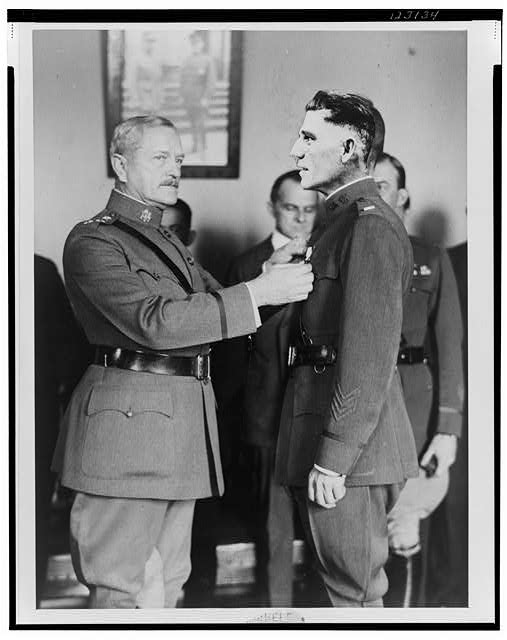 "[""Sig"" awarded medal by General Pershing]"