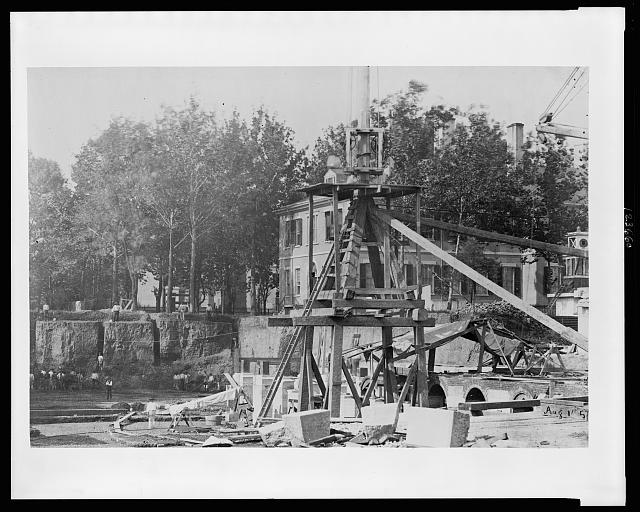 [Construction equipment in excavation at site for the United States Treasury Building, Washington, D.C.]