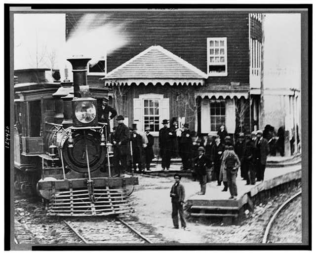 Hanover Junction, Pennsylvania--1863--Hanover Junction Railroad Station (detail of locomotive and crowd)