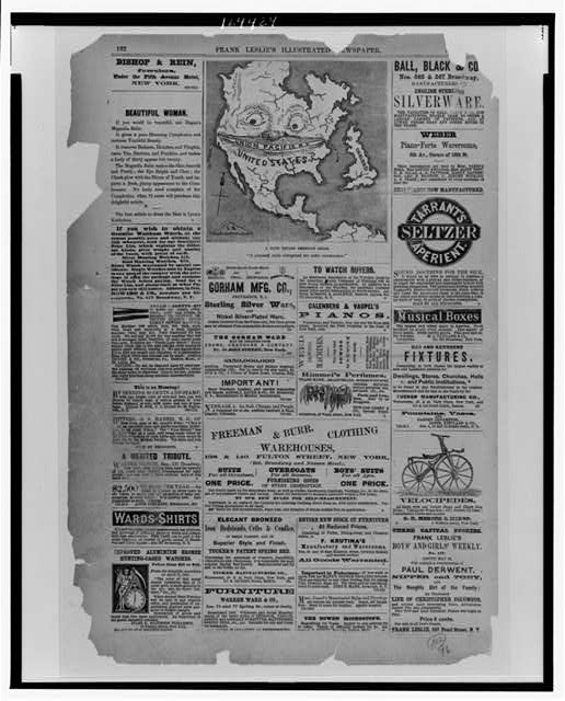 [Page of advertisements and a cartoon from Frank Leslie's illustrated newspaper]