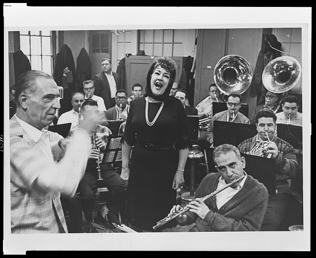 [Ethel Merman rehearsing with the New York City Sanitation Band; on left is band director John Celebre]