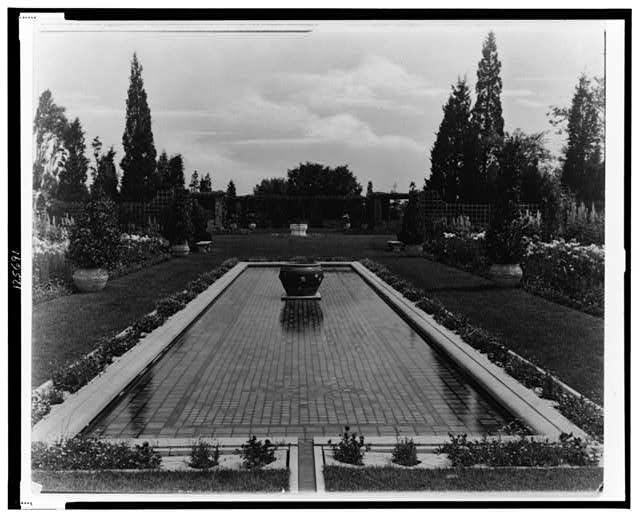 "[""Beacon Hill House,"" Arthur Curtiss James house, Beacon Hill Road, Newport, Rhode Island. Blue Garden, reflecting pool]"