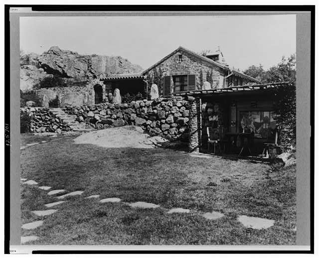 """[""""Surprise Valley Farm,"""" Arthur Curtiss James property, Beacon Hill Road, Newport, Rhode Island. Terrace and superintendent's house with stone hillside in distance]"""