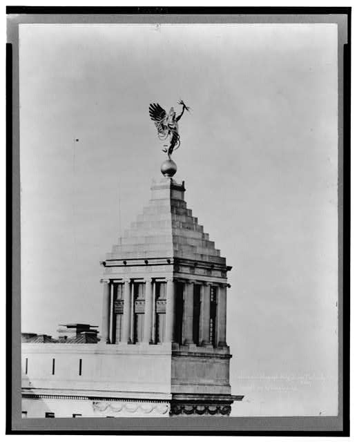 "Telephone & Telegraph Bldg., Statue ""Electricity"""