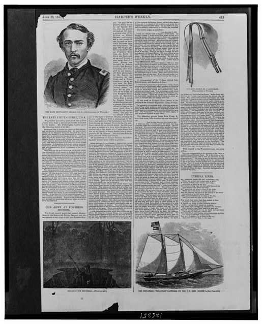 [Page from Harper's Weekly, June 29, 1861, including four prints and text]