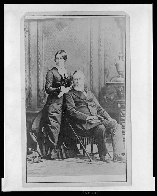 [President and Mrs. Rutherford B. Hayes (Lucy Webb Hayes), full-length portrait, looking slightly left]
