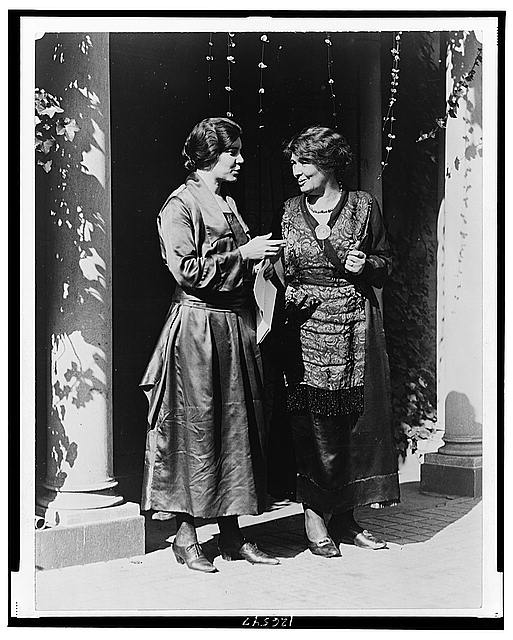 [Mrs. Pethick-Lawrence, British suffrage leader, and Miss Alice Paul of the National Woman's Party, full-length portrait, standing, Washington, D.C.]