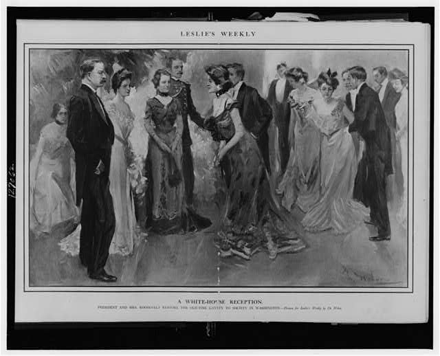 A White House reception--President and Mrs. Roosevelt restore the old-time gayety to society in Washington