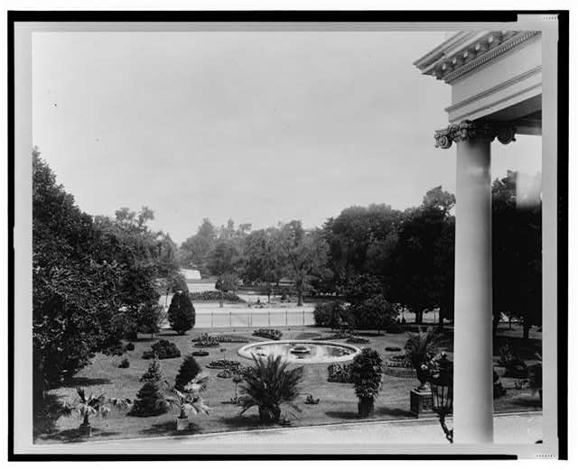 [White House, 1600 Pennsylvania Avenue, Washington, D.C. View from second floor bedroom to North Garden and Lafayette Square]
