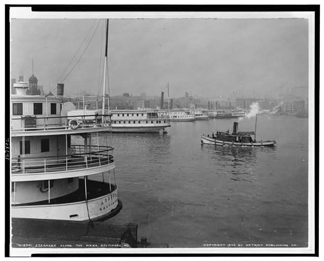 Steamers along the piers, Baltimore, Md.